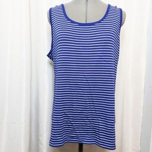 mySTYLE Navy and White Tank Top Size 3X